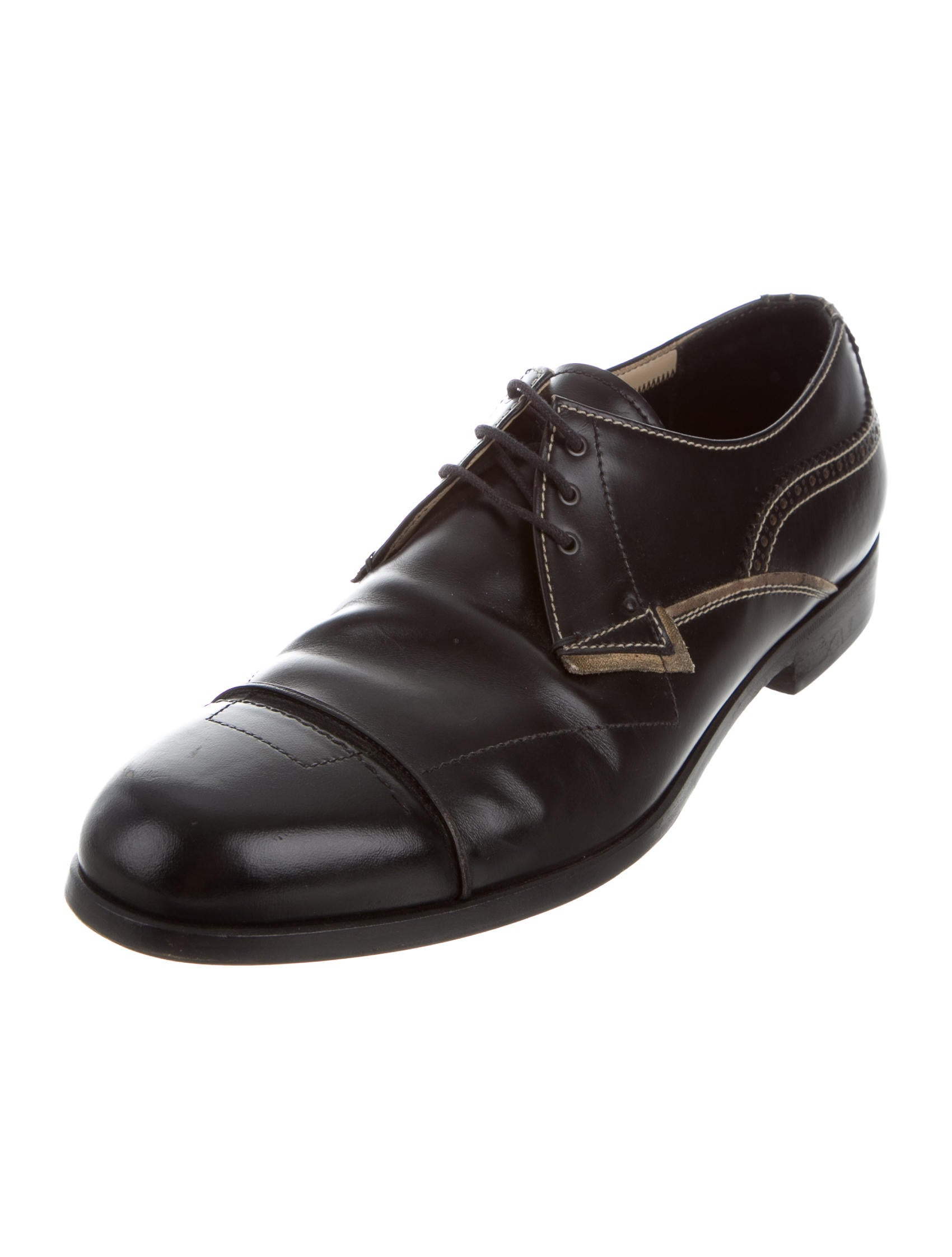 prada leather derby shoes shoes pra156978 the realreal