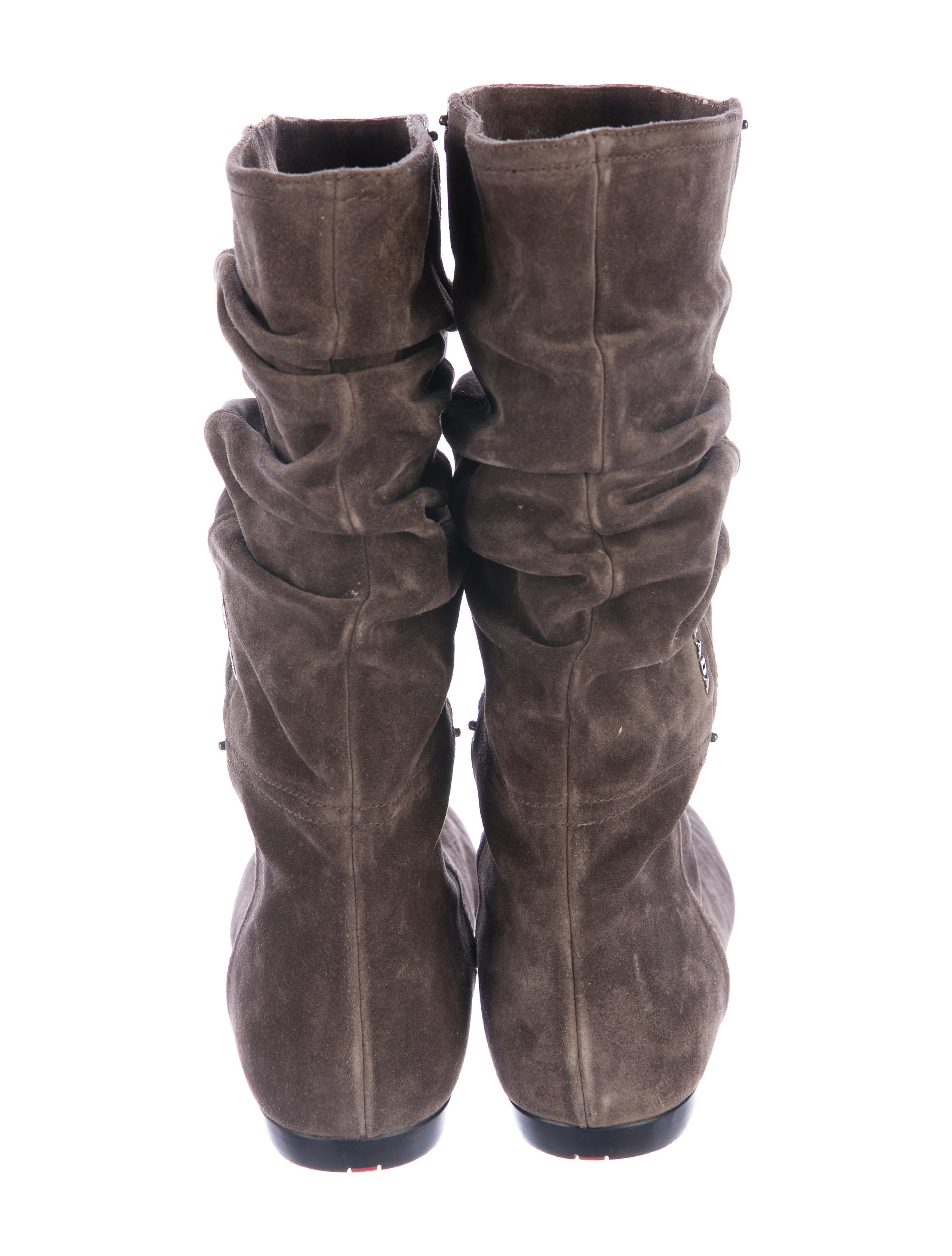 prada ruched suede boots shoes pra157181 the realreal