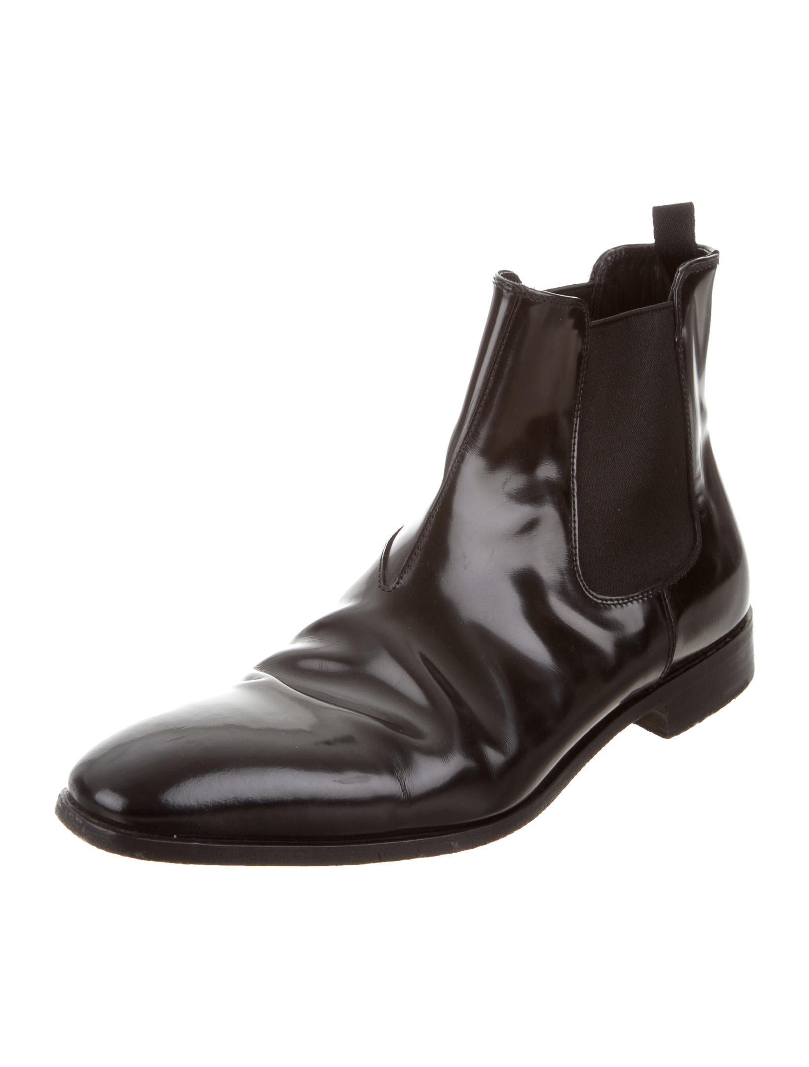 prada leather chelsea boots shoes pra157206 the realreal