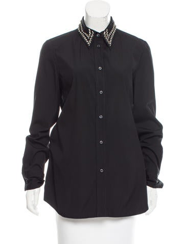 Prada Embellished Button-up Top w/ Tags None
