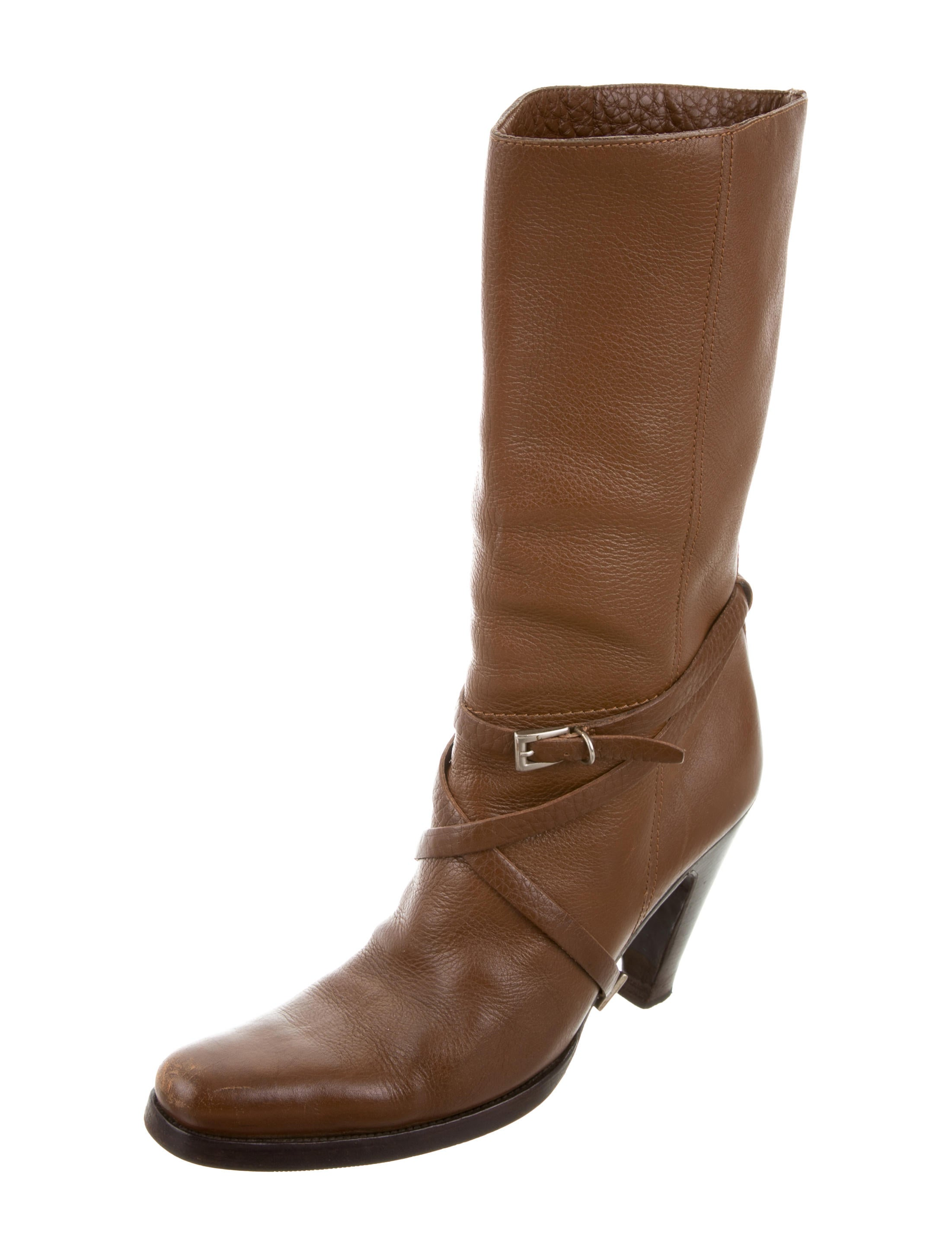 prada leather mid calf boots shoes pra157312 the