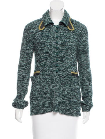 Prada Leather-Trimmed Knit Cardigan None