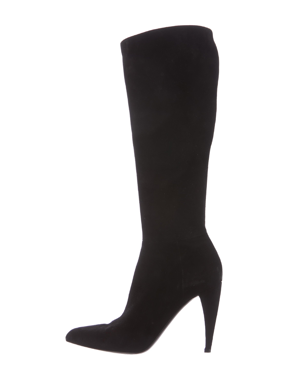 prada suede knee high boots shoes pra157552 the realreal
