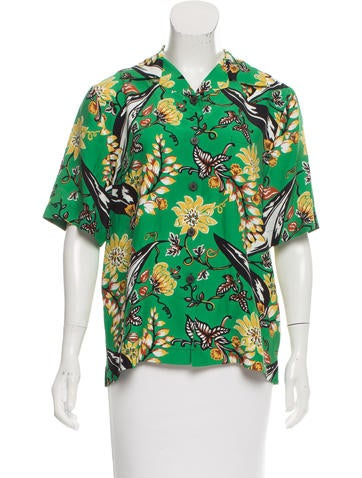 Prada Tropical Print Button-Up Top None