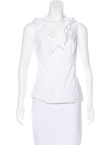 Prada Ruffle-Trimmed Sleeveless Top None