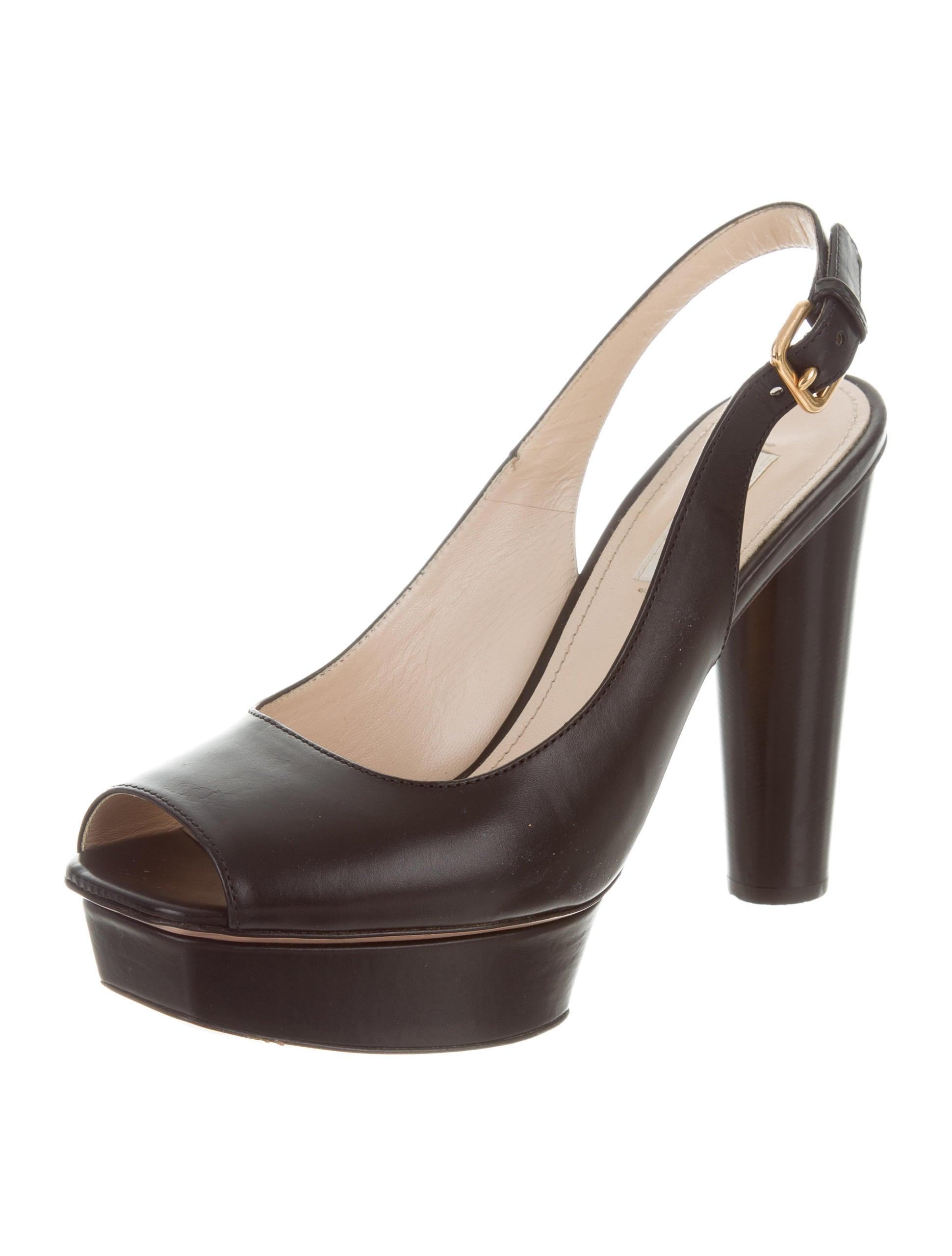 Prada Peep-Toe Slingback Pumps - Shoes - PRA158063 | The RealReal