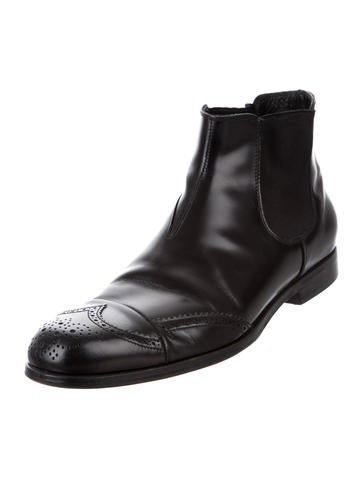 prada leather chelsea boots mens shoes pra158619 the