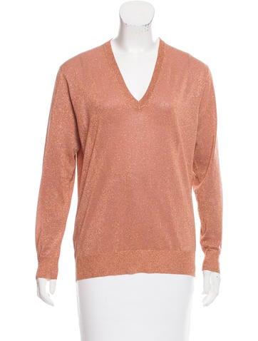 Prada Metallic V-Neck Sweater None