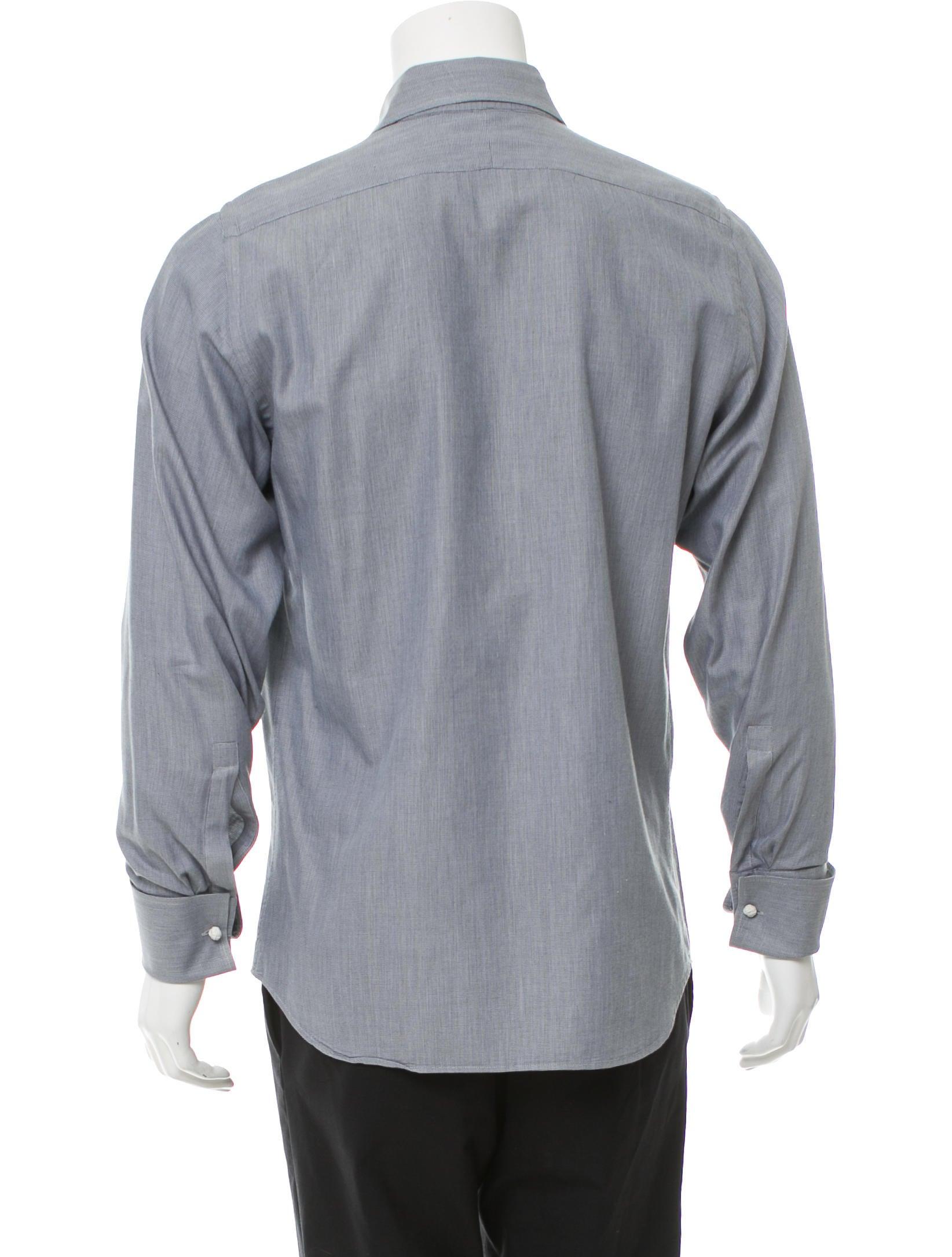 Prada french cuff button up shirt clothing pra159502 for Pin collar shirt double cuff