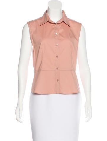 Prada Sleeveless Button-Up Top None