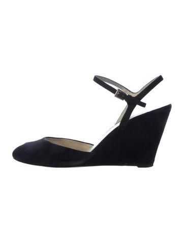 Prada Suede Wedge Sandals None