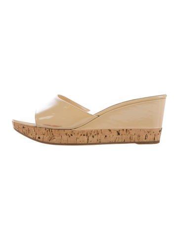 Prada Patent Leather Wedge Slide Sandals None