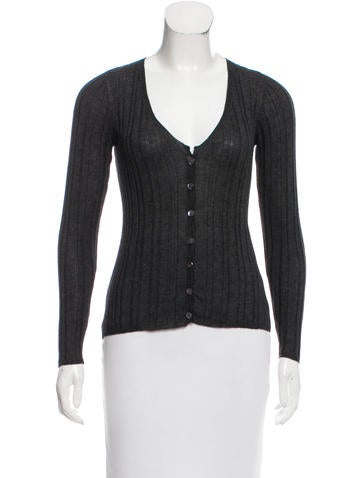 Prada Rib Knit Scoop Neck Cardigan None