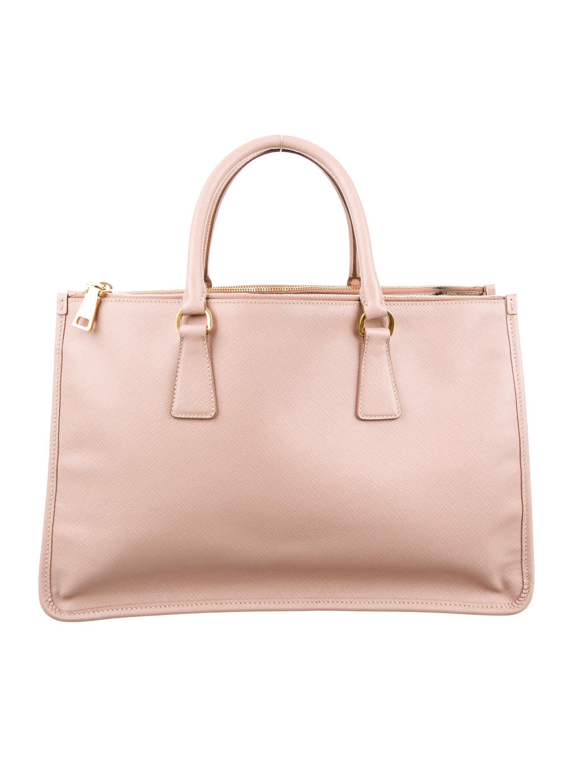 bc9762ce91eb Prada Saffiano Lux Double Zip Frame Tote - Handbags - PRA160589 | The  RealReal