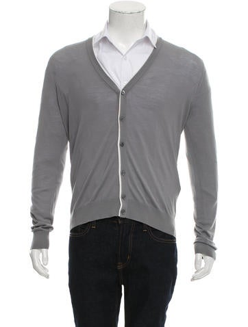 Prada Virgin Wool V-Neck Cardigan None