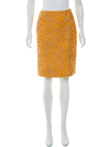 Prada Floral Embroidered Skirt None