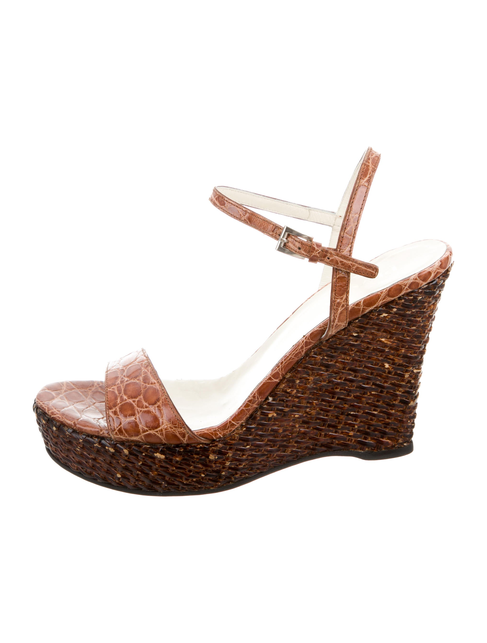 pay with paypal online Prada Embossed Platform Wedges outlet shopping online collections BZL7a2N