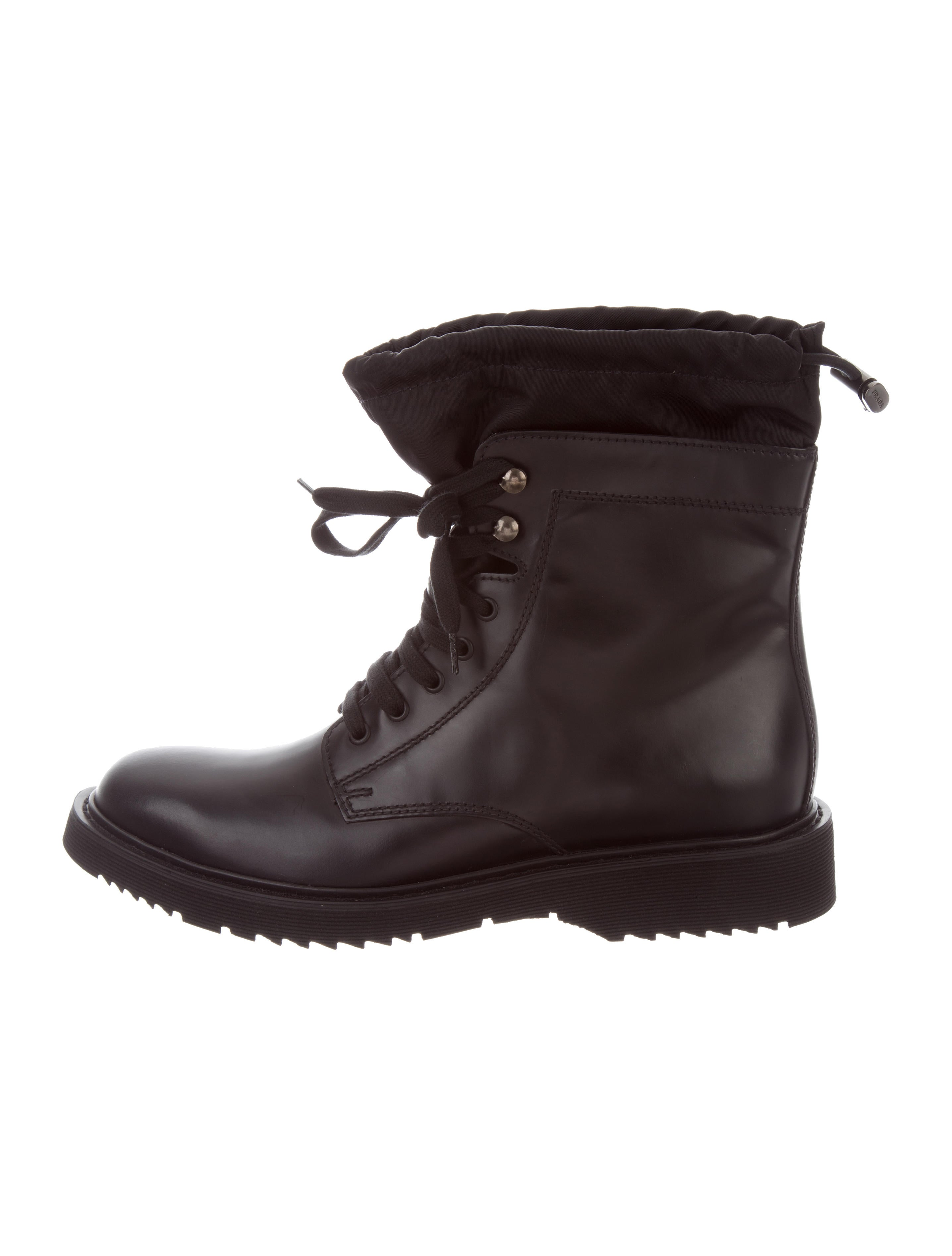prada leather combat boots shoes pra161370 the realreal