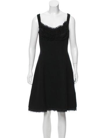Prada Ruffle-Trimmed Wool Dress None