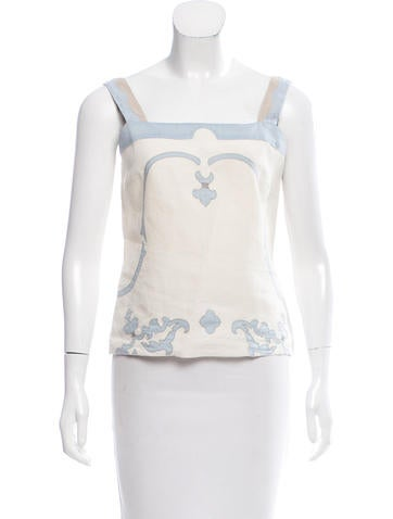 Prada Patterned Sleeveless Top None