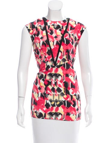 Prada Silk Abstract Top None