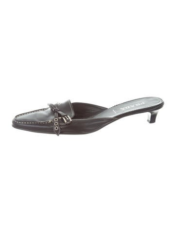 Prada Leather Buckle-Accented Mules None