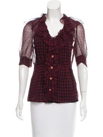 Prada Sheer Button-Up Top None