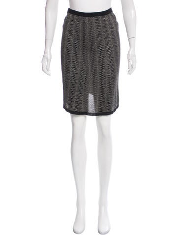 Prada Metallic-Accented Knit Skirt None