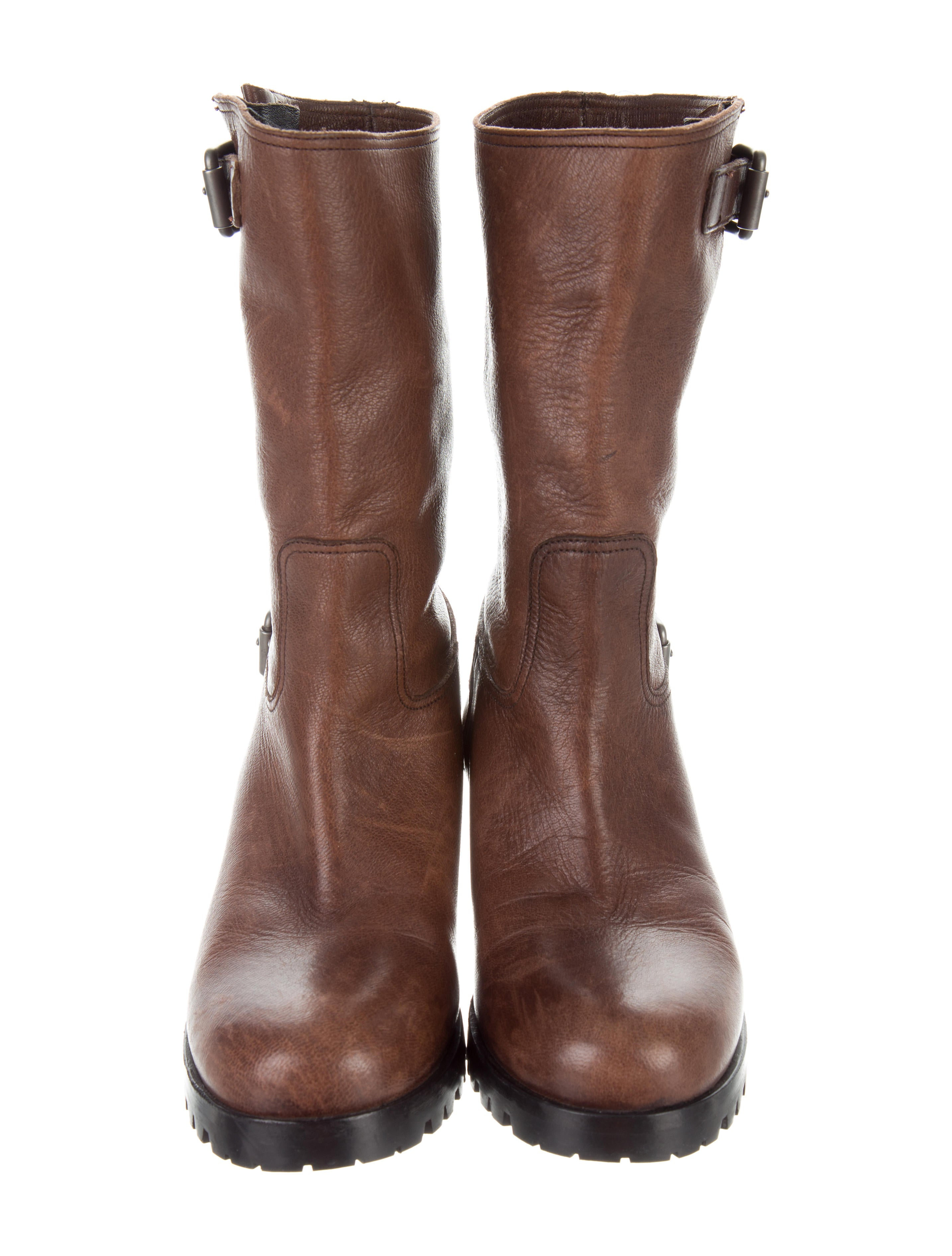 Prada Leather Mid Calf Boots Shoes Pra162697 The