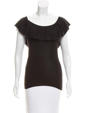 Prada Overlay-Accented Short Sleeve Sweater None