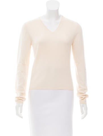 Prada Long Sleeve V-Neck Sweater None