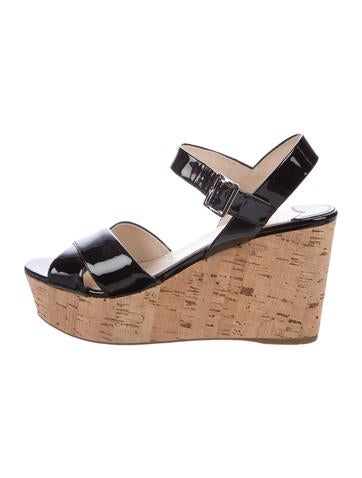 Prada Patent Leather Ankle Strap Wedges None
