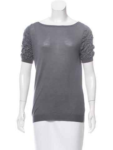 Prada Wool & Silk Short Sleeve Top None