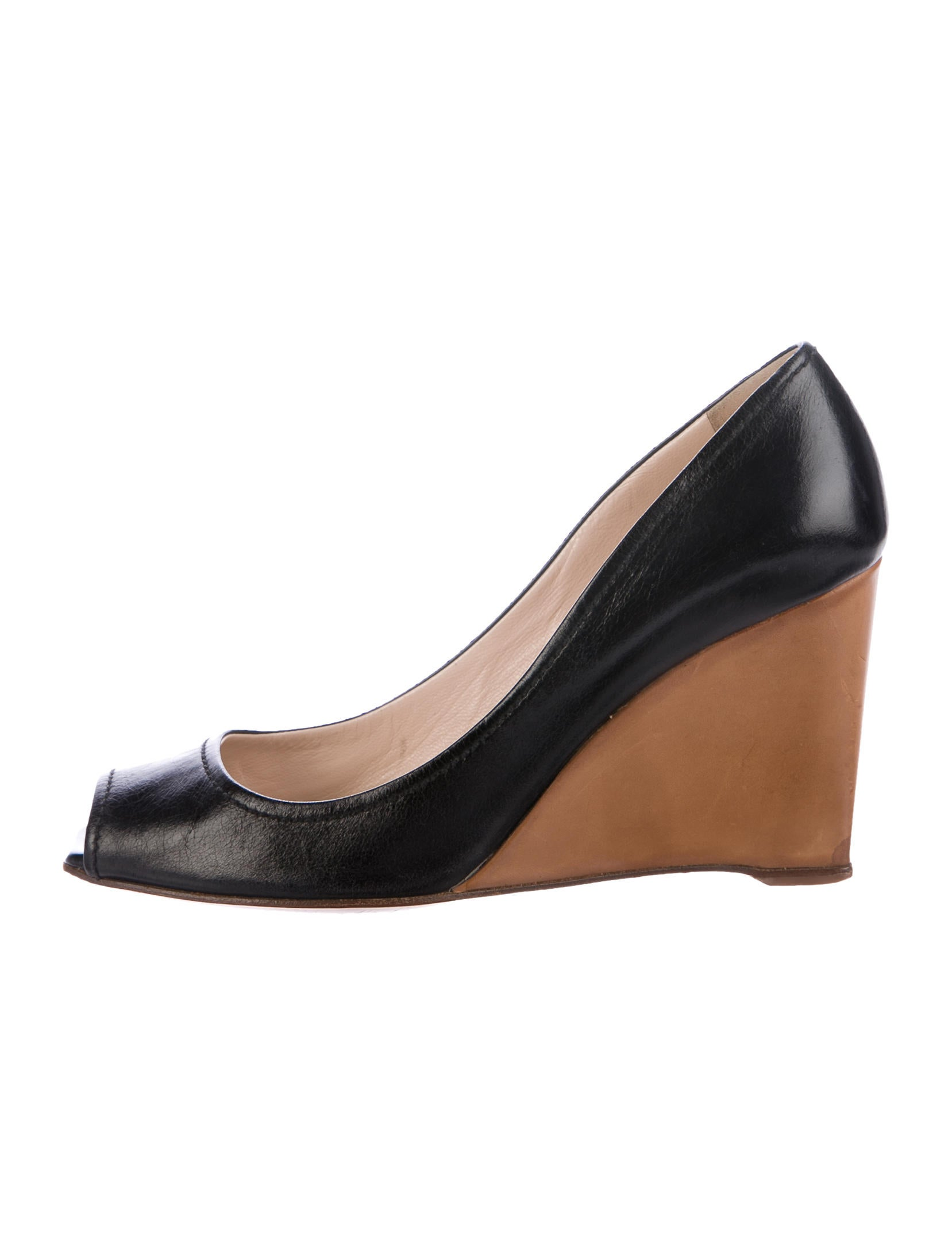 prada peep toe wedge pumps shoes pra163798 the realreal