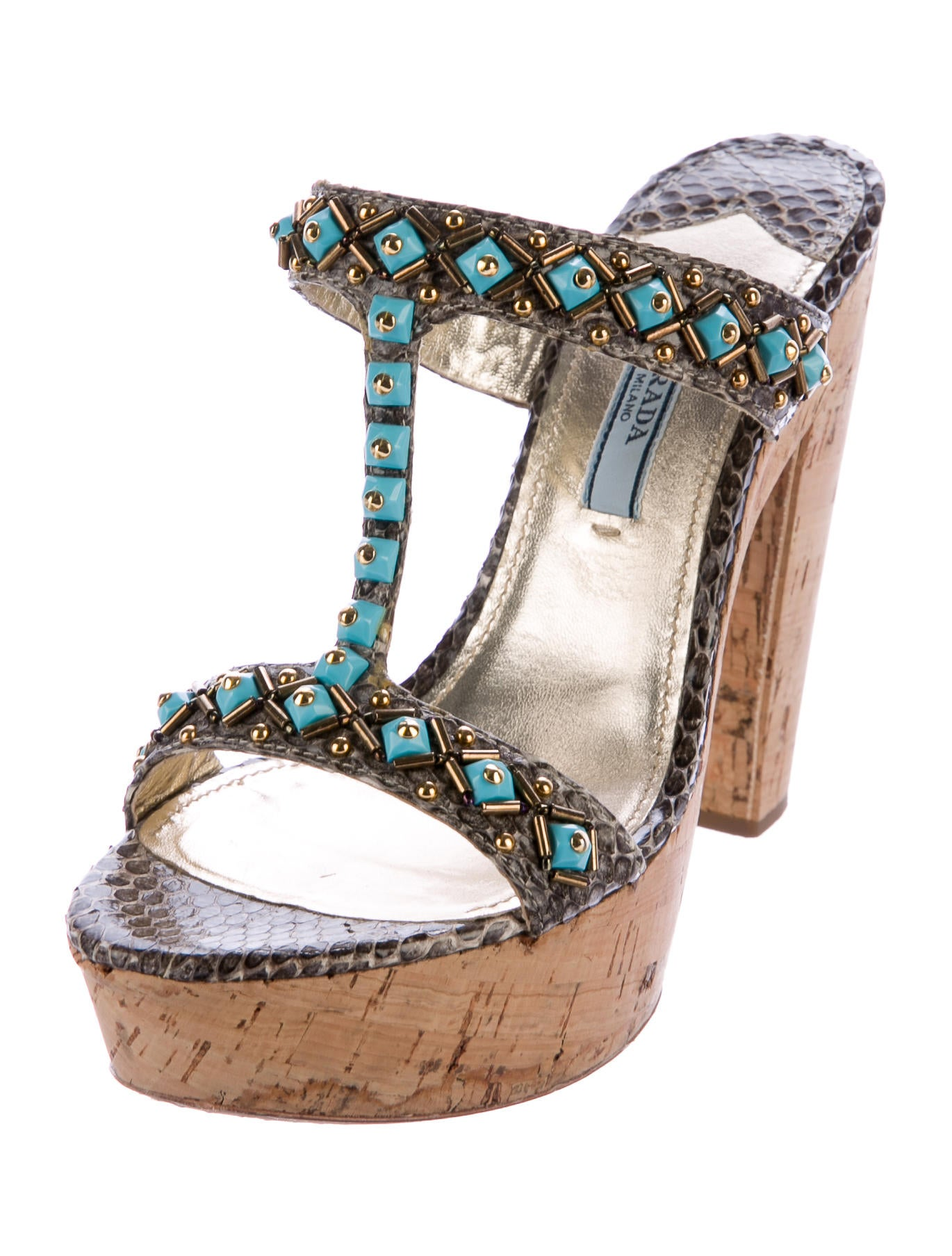Prada Snakeskin Platform Sandals - Shoes - PRA164159 | The