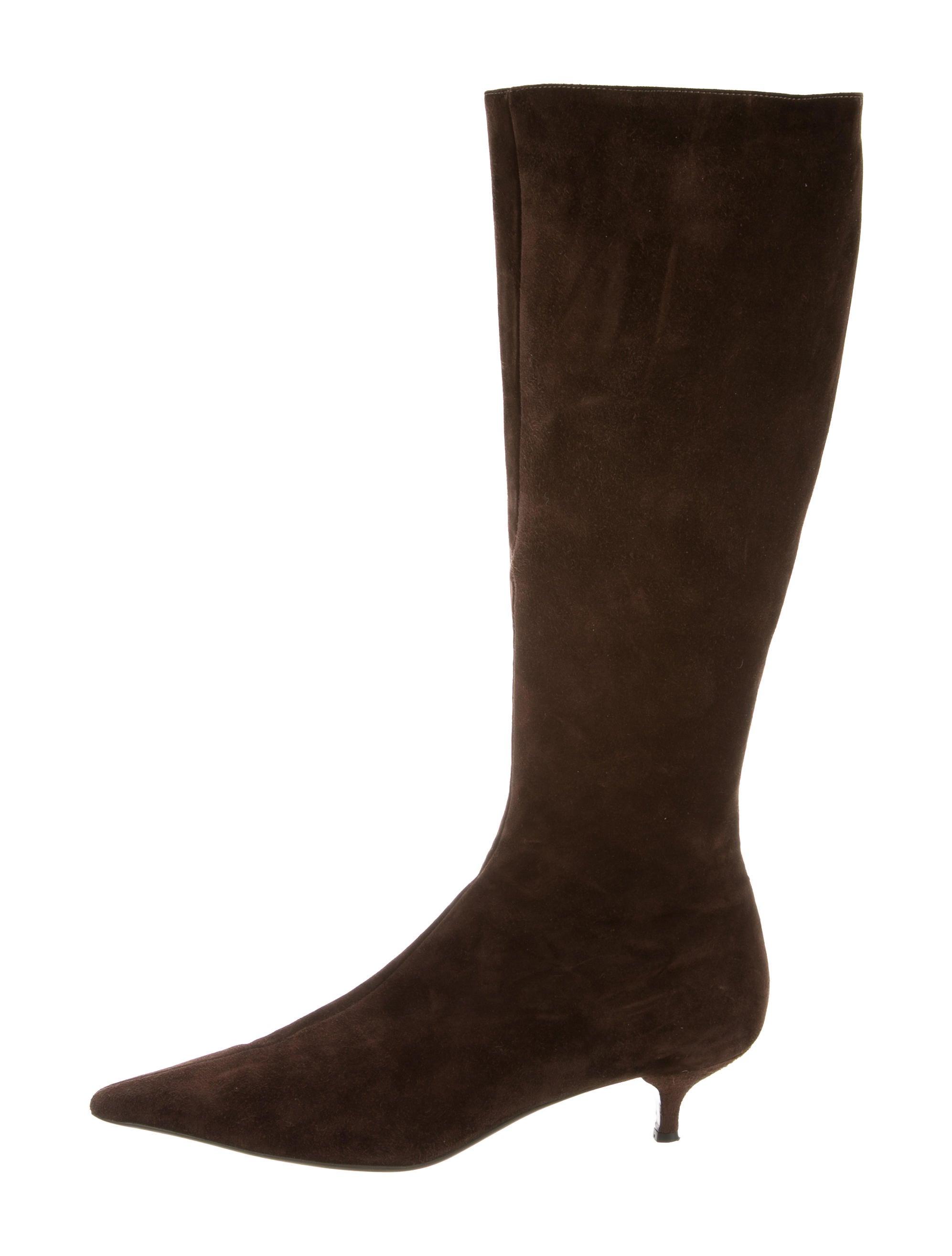 prada suede knee high boots shoes pra164865 the realreal