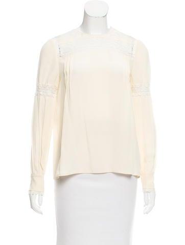 Prada Lace-Accented Silk Top None