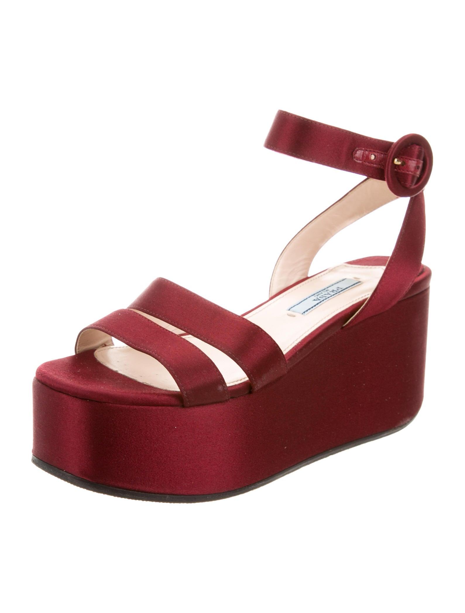 prada satin platform wedge sandals shoes pra164976