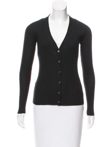 Prada Cashmere Ribbed Cardigan None