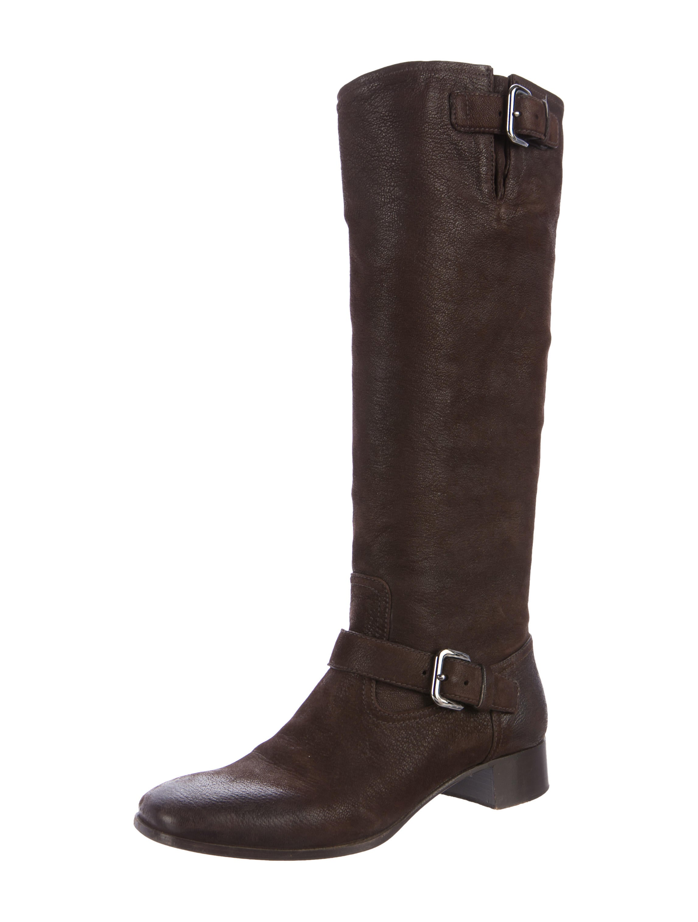 prada leather knee high boots shoes pra165968 the
