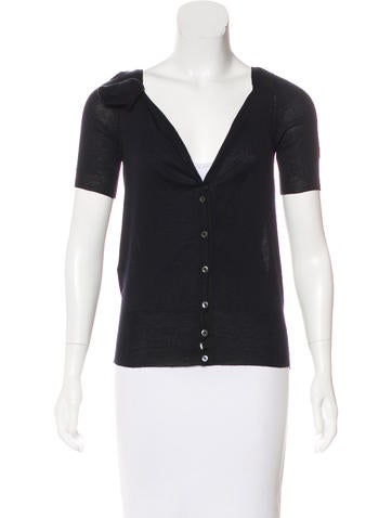 Prada Wool & Silk Short Sleeve Cardigan None