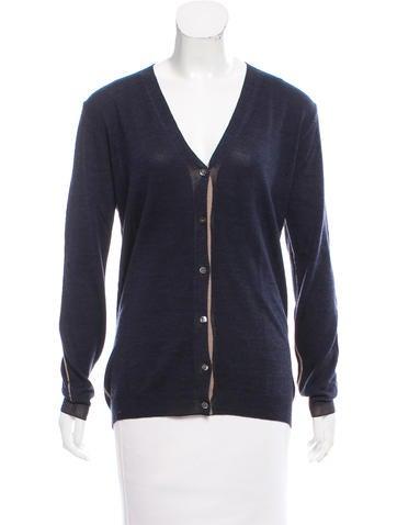 Prada Wool & Silk Button-Up Cardigan None