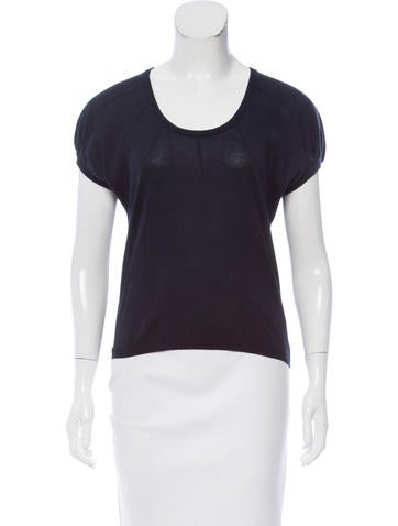 Prada Short Sleeve Rib Knit Top None