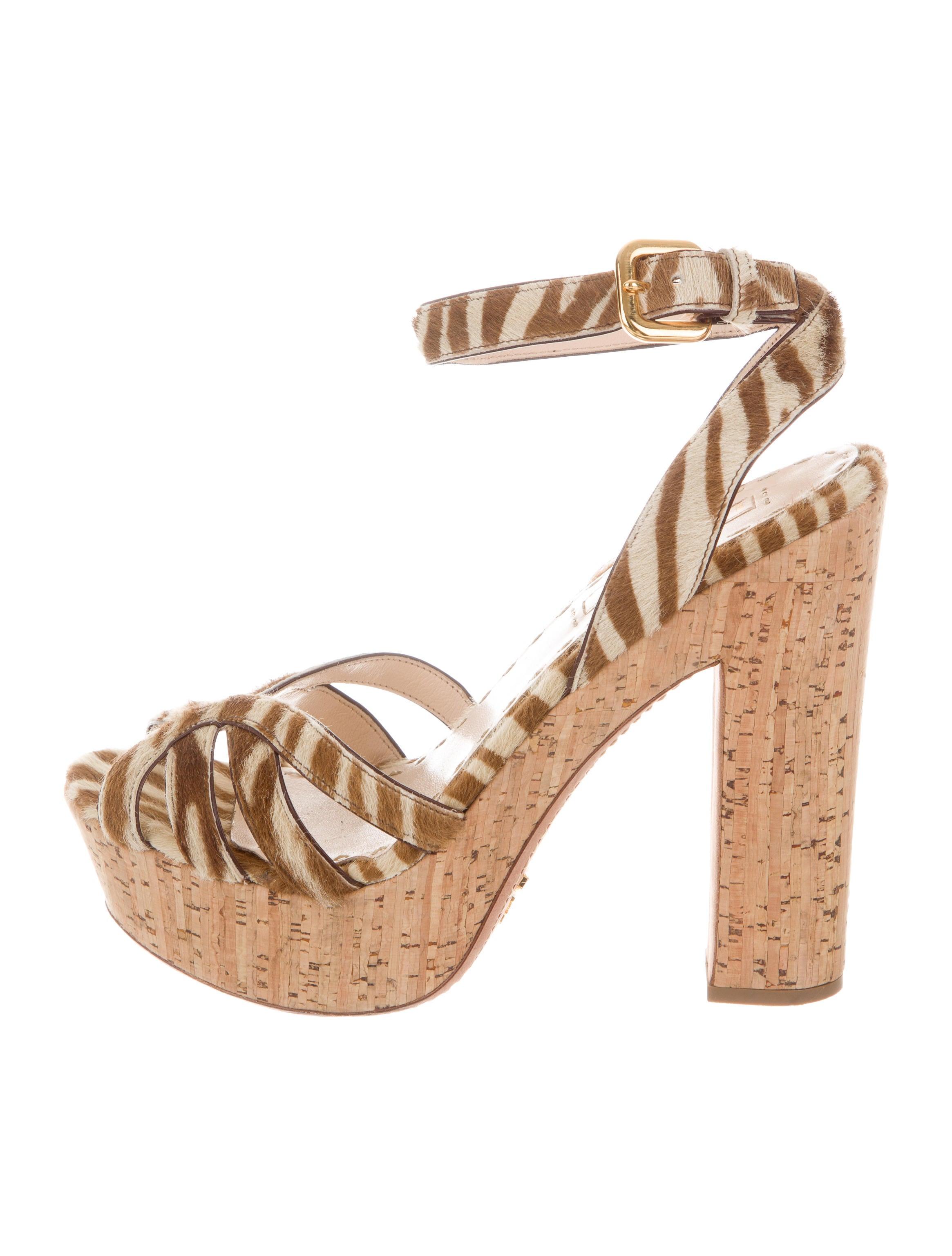 Prada Ponyhair Platform Sandals cheap free shipping s2BAhkMF6t