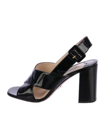 Prada Patent Leather Crossover Sandals None