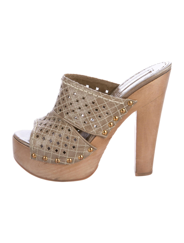Prada Peep Toe Shoes With Studs
