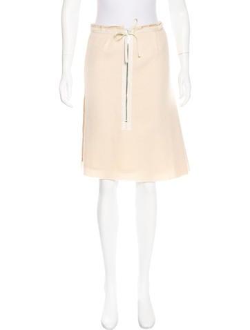 Prada Wool & Mohair Knee-Length Skirt None