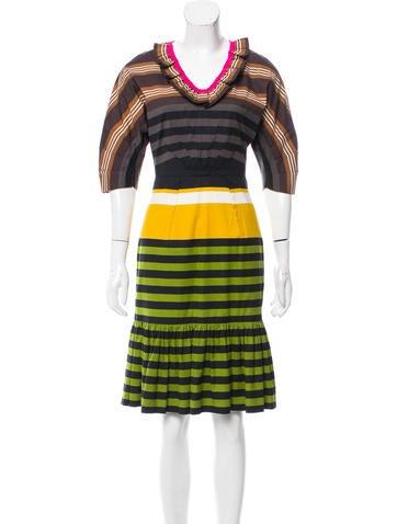 Prada Ruffle-Trimmed Striped Dress None