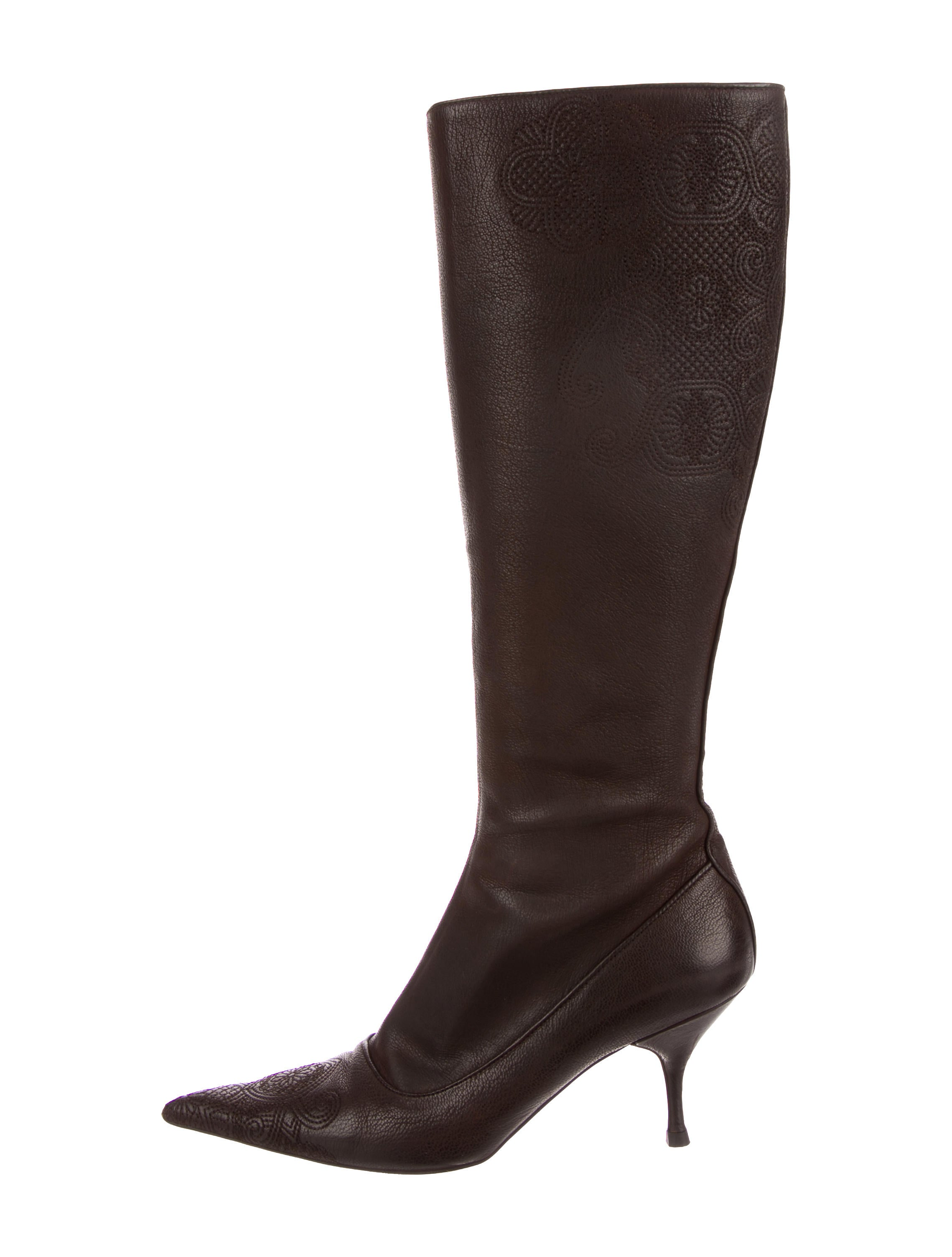 sale order Prada Embroidered Knee-High Boots cheap sale websites get authentic for sale DH3xJ