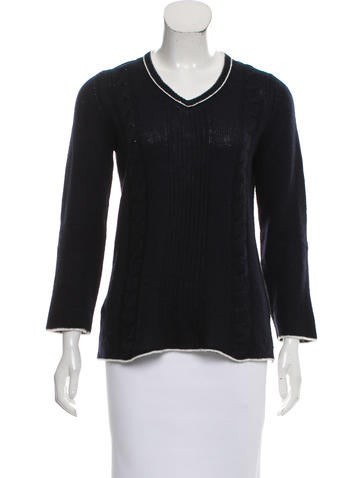 Prada Suede-Accented Cashmere Sweater None
